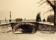 Grey Day Prints - Patterson Creek Bridge in Winter Print by Betty-Anne McDonald