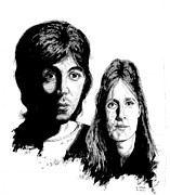 Paul Drawings - Paul and Linda by Kenneth Stock