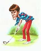 Caricature Drawings Posters - Paul Azinger Poster by Harry West