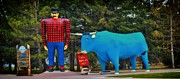 Attraction Mixed Media - Paul Bunyan and Babe by Todd and candice Dailey