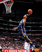 Pacers Photo Prints - Paul George Monster Dunk Print by Sanely Great