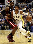Pacers Photo Prints - Paul George Poster Print by Sanely Great