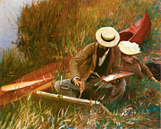Canoe Painting Posters - Paul Helleu Sketching with his Wife Poster by John Singer Sargent