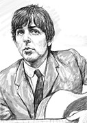 Fame Drawings Framed Prints - Paul McCartney art drawing sketch portrait Framed Print by Kim Wang