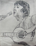 Music Drawings Framed Prints - Paul McCartney Framed Print by David Garren