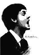 White Digital Art Posters - Paul McCartney No.01 Poster by Caio Caldas
