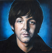 Celebrity Portraits Posters - Paul McCartney Poster by Tim  Scoggins