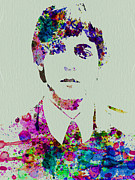 Beatles Metal Prints - Paul McCartney Watercolor Metal Print by Irina  March