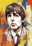 Beatles Mixed Media - Paul McCartny stylised pop art drawing potrait poser by Kim Wang