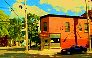 Point St. Charles Paintings - Paul Patate Restaurant Pointe St Charles Sunny Summer Street Scene Montreal Art Carole Spandau  by Carole Spandau