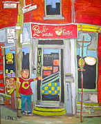 Fries Paintings - Paul Patates Montreal Chip Bar Montreal Memories by Michael Litvack