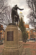 Historic Statue Photo Posters - Paul Revere and the Old North Church Poster by Joann Vitali