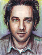 Painted Mixed Media Metal Prints - Paul Rudd Portrait Metal Print by Olga Shvartsur