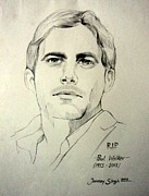 Scared Drawings Posters - Paul Walker Poster by Tanmay Singh