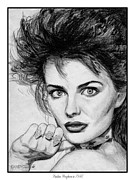 Hand Drawings Framed Prints - Paulina Porizkova in 1986 Framed Print by J McCombie