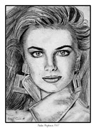 Commercial Drawings Framed Prints - Paulina Porizkova in 1987 Framed Print by J McCombie
