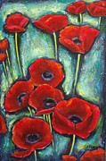 Sheila Diemert Metal Prints - Paulines Poppies Metal Print by Sheila Diemert