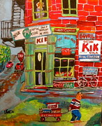 Store Window Display Paintings - Pauls Grocery Montreal by Michael Litvack