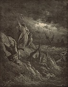 Bible Drawings - Pauls Shipwreck by Antique Engravings