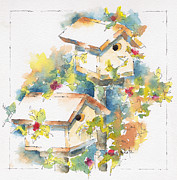 Burnt Sienna Prints - Pausegarden Birdhouses Print by Pat Katz