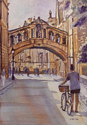 Bicycles Paintings - Pausing Before the Bridge by Jenny Armitage