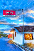 City Streets Digital Art Prints - Pausing To Dine On Pizza in Costa Rica Print by Mark E Tisdale