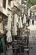 Pavement Prints - Pavement cafe of Athens Print by Aiolos Greek Collections