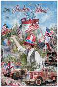 4th July Digital Art Prints - Pawleys Island 4th of July Parade Print by Alan Sherlock