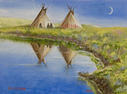 Plains Indian Paintings - Pawnee Camp by Jerry McElroy