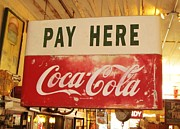 Pay Here Framed Prints - Pay Here Coca Cola Sign Jefferson Texas Framed Print by Donna Wilson