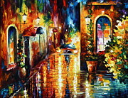 Rain Painting Framed Prints - Paying A Visit New Framed Print by Leonid Afremov