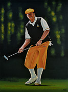Basket Ball Painting Metal Prints - Payne Stewart Metal Print by Paul  Meijering