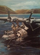 Us Navy Originals - PBY 5 loading at Pearl Harbor by Richard John Holden