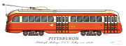 Pittsburgh Digital Art Framed Prints - PCC Trolley circa 1936 Framed Print by Carlos F Peterson