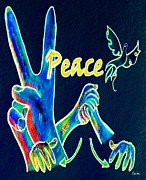 Hand Signs Mixed Media Posters - Peace 2 Poster by Eloise Schneider