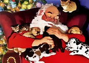 Joseph Frank Baraba Painting Prints - Peace Among The Cats Dogs And Santa Claus Print by Joseph Frank Baraba