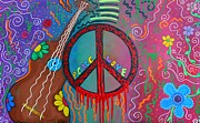 Hippie Painting Posters - Peace and Love 2 Poster by Laura Barbosa