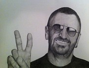Ringo Starr Drawings - Peace by Beth Beam