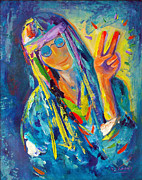Hippie Painting Originals - Peace by Carol Landry