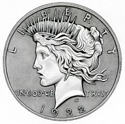 Silver Drawings Posters - Peace Dollar Poster by Fred Larucci