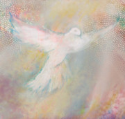 Ark Digital Art Prints - Peace Dove Print by Anne Cameron Cutri