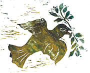 Block Print Paintings - Peace Dove by Ellen Miffitt