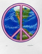 Featured Mixed Media Originals - Peace Earth by R Neville Johnston