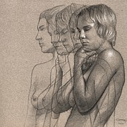 Woman Drawings - Peace for Five by Dirk Dzimirsky