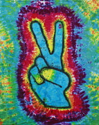 Tie Dye Tapestries - Textiles Metal Prints - Peace Hand Metal Print by Carl McClellan