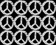 Hippie Posters - Peace in Black and White Poster by Michelle Calkins