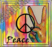 Hand Signs Mixed Media Posters - Peace in Every Color Poster by Eloise Schneider