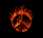 Destructive Digital Art Prints - Peace in Flames Print by Sari ONeal