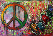 Hippie Painting Prints - Peace Print by Laura Barbosa