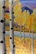 Aspen Trees Paintings - Peace Like a River I by Elizabeth Golden